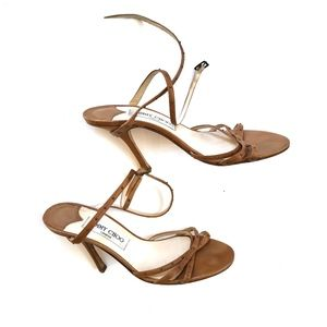 Jimmy Choo Brown Strappy Heels Ankle Straps 37.5